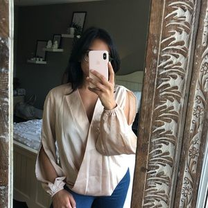 Satin champagne open sleeve blouse